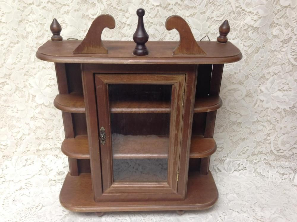 Vintage, Small Wooden Display Or Curio Cabinet  18in X15in X5in | Antiques,  Furniture