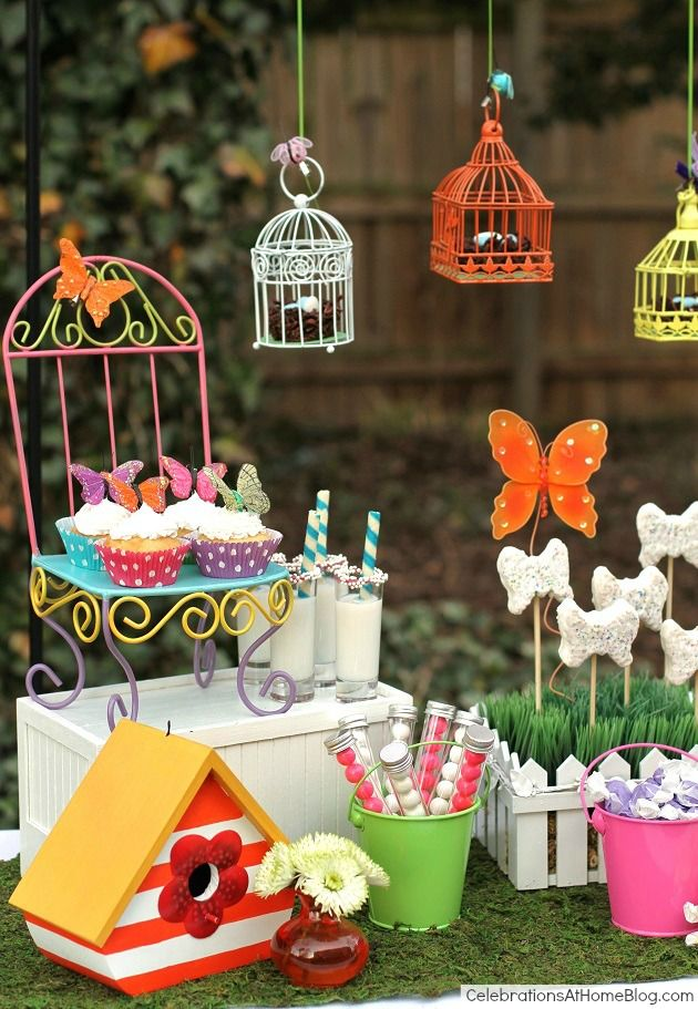 Whimsical kids garden party ideas kids garden parties kid garden kids garden party sweets could finally use all those mini bird cages i bought workwithnaturefo