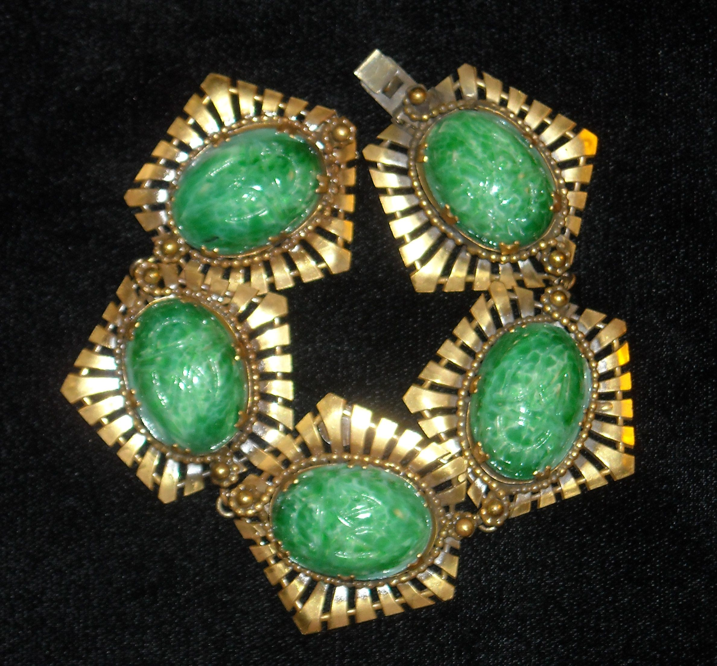 vintage yellow multi jadeite gold s and bracelet jewelry jade color