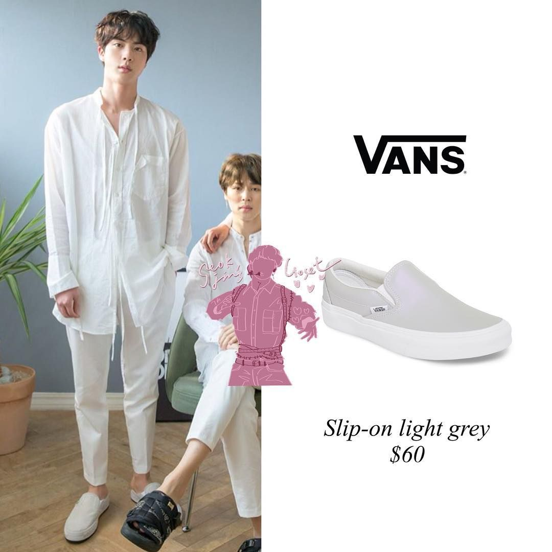 Jin Is Wearing Vans Slip On Light Grey Price 60 Vans Slip On Bts Inspired Outfits How To Wear