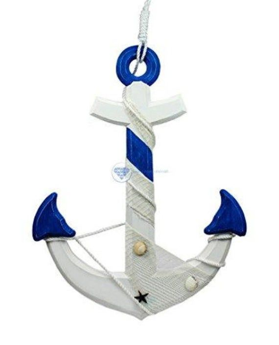 Photo of Nagina International 24″ Nautical Handcrafted Distressed Wooden Wall Decor White Blue Anchor with Fi