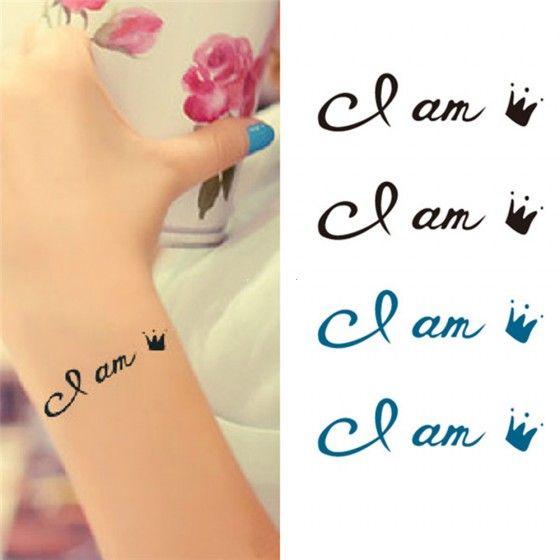 Tattoo Sticker Crown Letters Pattern Waterproof Temporary Tattooing Paper Body Art