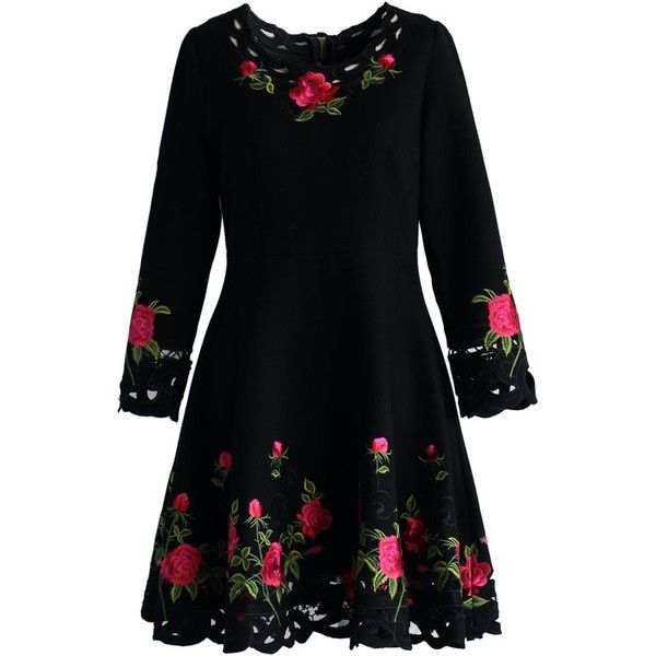 Chicwish Rose for Allure Flare Dress (220 BRL) ❤ liked on Polyvore featuring dresses, black, floral, rose, floral embroidered dress, floral fit-and-flare dresses, cutout dresses, flared dresses and embroidery dress