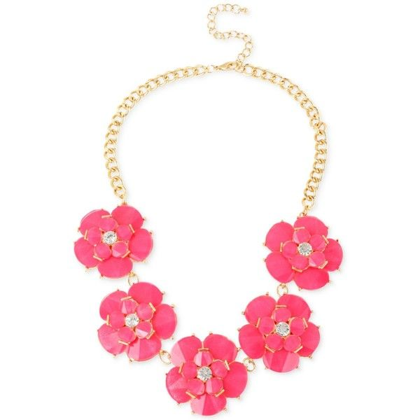 M Haskell Gold Tone Fuchsia Flower Frontal Necklace Frontal Necklace Fuchsia Flower Fuchsia Necklace