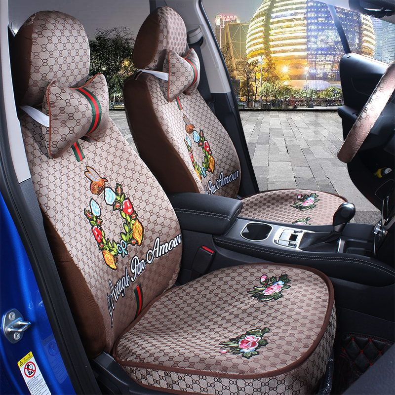 Deluxe Full Set Car Seat Cover Universal PU Leather Cushion B///& Red W//N Pillows