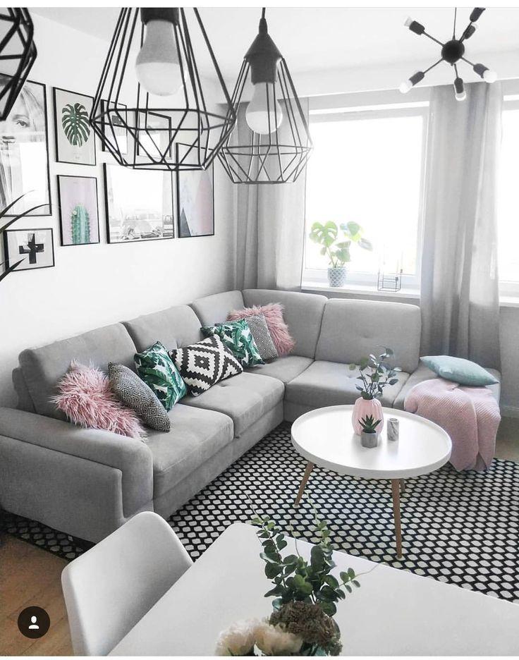 Cute splash of color for a grey living room! #homedecor #modernhomedecorlivingro... - - #smallapartmentlivingroom