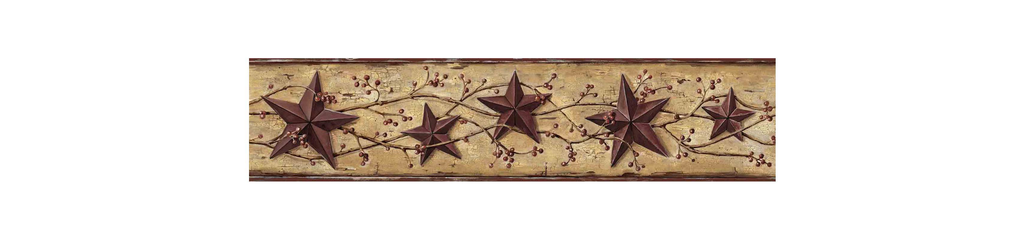 Brewster FFR65361B Red Heritage Tin Star Border Wallpaper Red Tin
