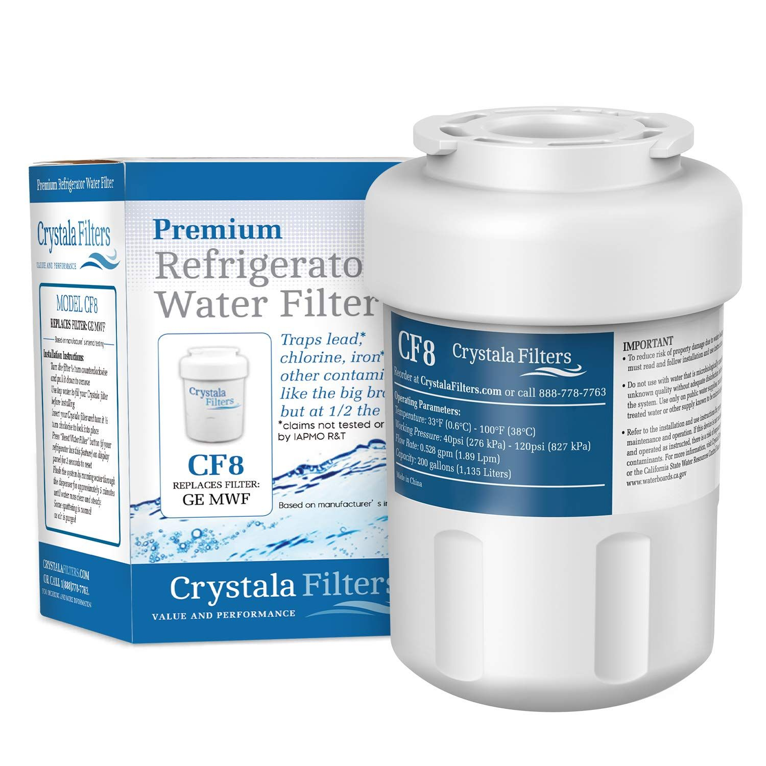 Mwf Water Filter For Ge Refrigerator Crystala Filters Compatible With Ge Mwf Smartwater Mwfa Mwfp Gwf Gwfa Kenmore 9991 Water Filter Filters Coding