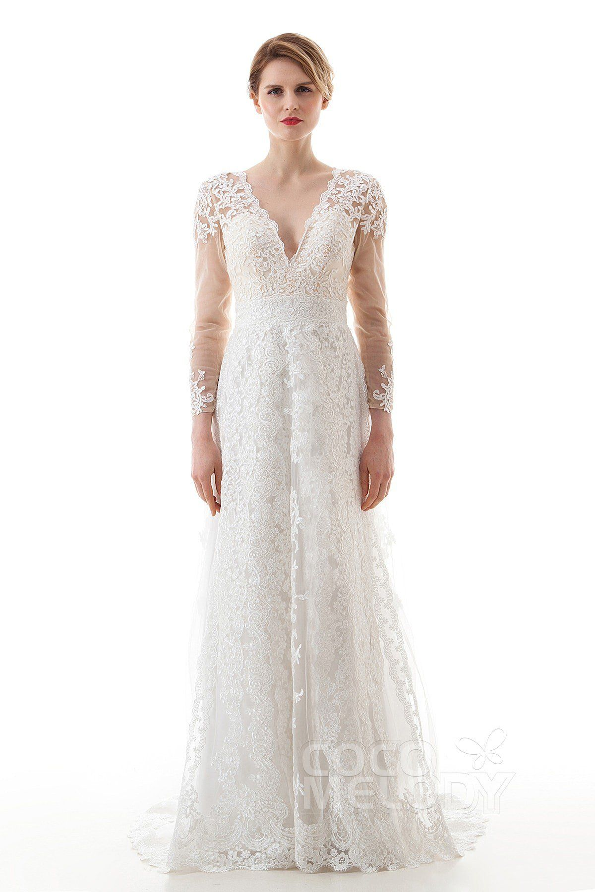 ff6182ece411 Latest Sheath V-Neck Natural Lace and Tulle Ivory Long Sleeve Zipper With  Buttons Wedding Dress with Appliques LD4452 #weddingdresses #customdresses  ...