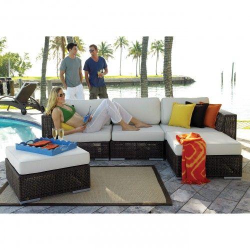 Hospitality Rattan Soho 5 Piece Set - 3 Corner chairs, Coffee table ...