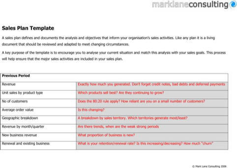 Sales Plan Template  TemplatesForms    Template