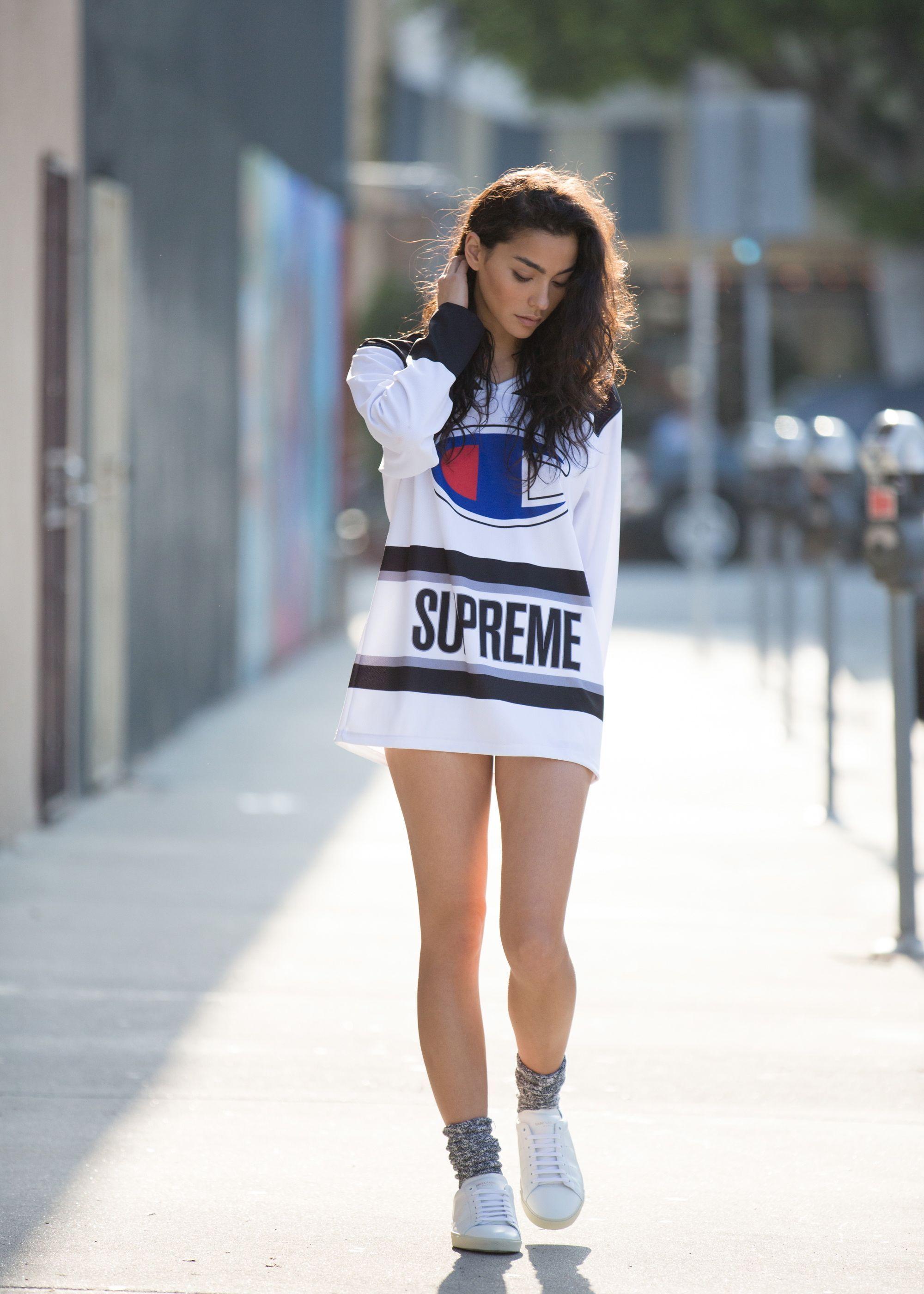 adrianneho champion x supreme  streetwear fashion women