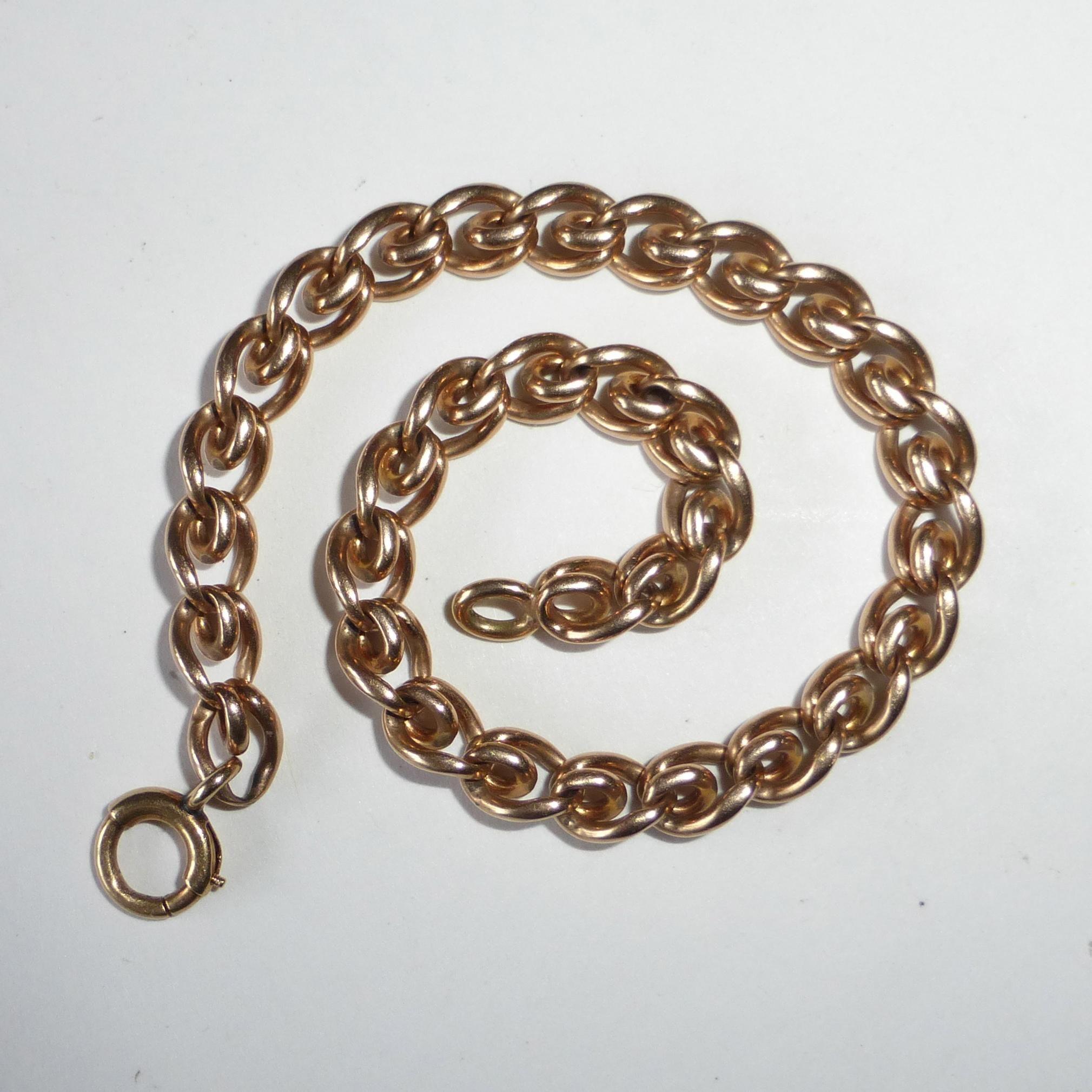14k Rose Gold Heavy Curled Link Chain Bracelet