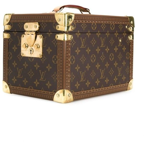 Louis Vuitton Vintage Boite Flacons Cosmetic Bag (€3.675) ❤ liked on Polyvore featuring bags, handbags, genuine leather purse, brown leather purse, structured handbags, monogrammed purses and monogrammed leather purse