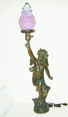 VICTORIAN NEWEL POST LAMP WINGED FIGURE