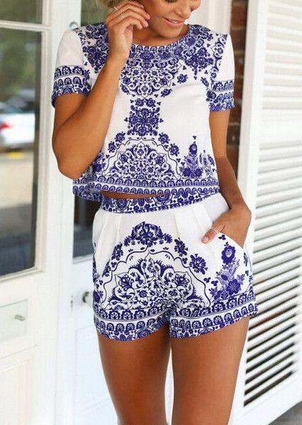 Summer Crop Top and High Waist Shorts | High waist short, High ...