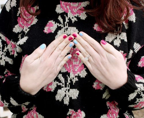 Love the pale blue nail polish (not so much the red for me anyway).  Must find some.  #nails