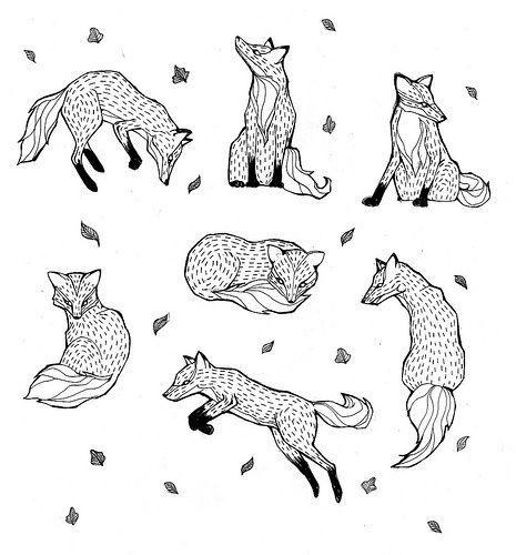 55 cr ations autour du renard et du graphisme le renard - Renard en dessin ...