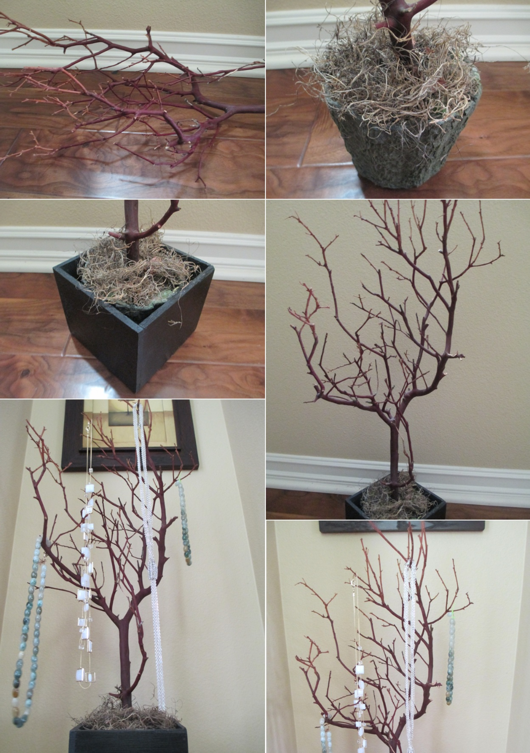 Diy tutorial jewelry holders how to make tree branch for Tree branch jewelry holder