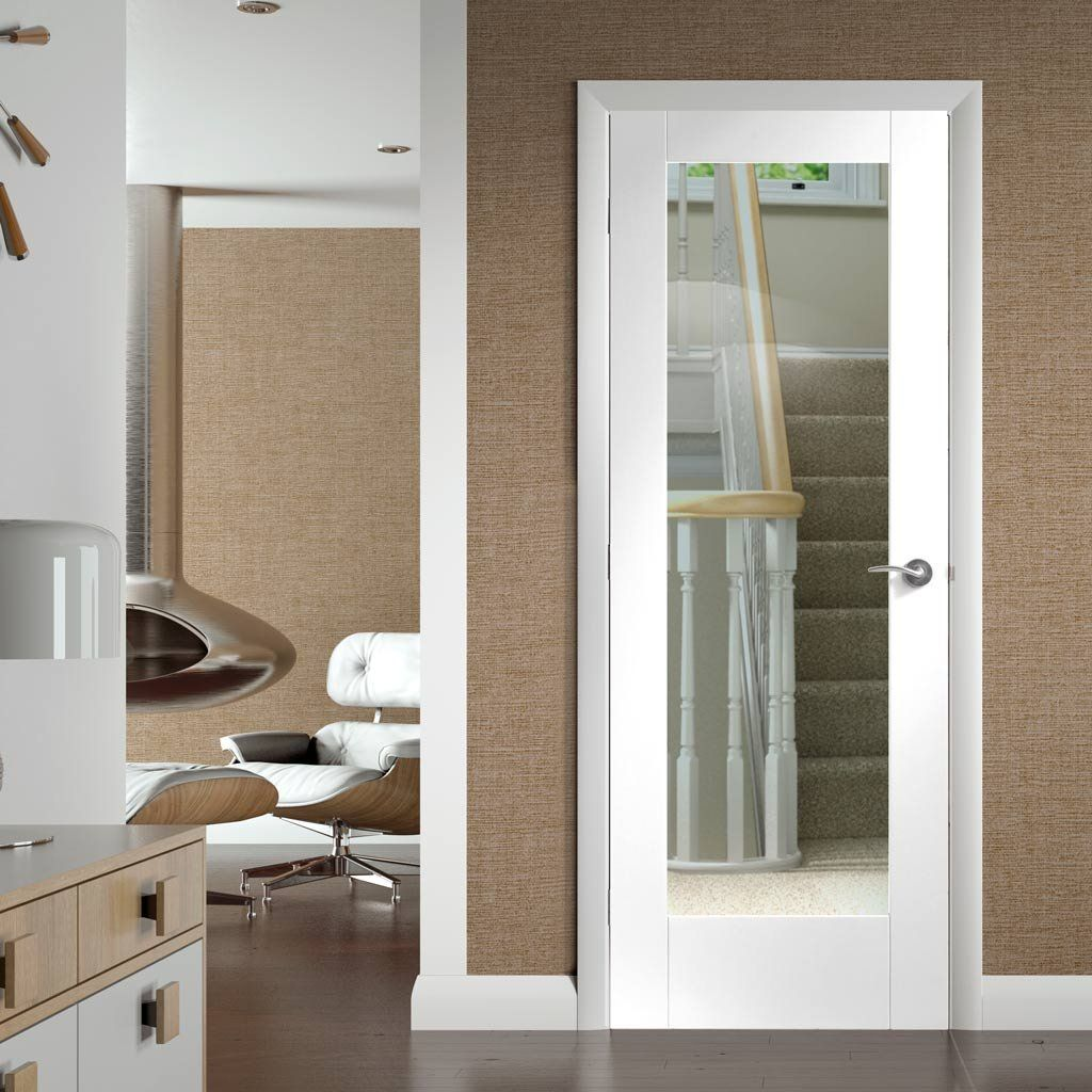 Pattern 10 white primed door with clear safety glass safety glass lifestyle and doors - White glass panel internal doors ...