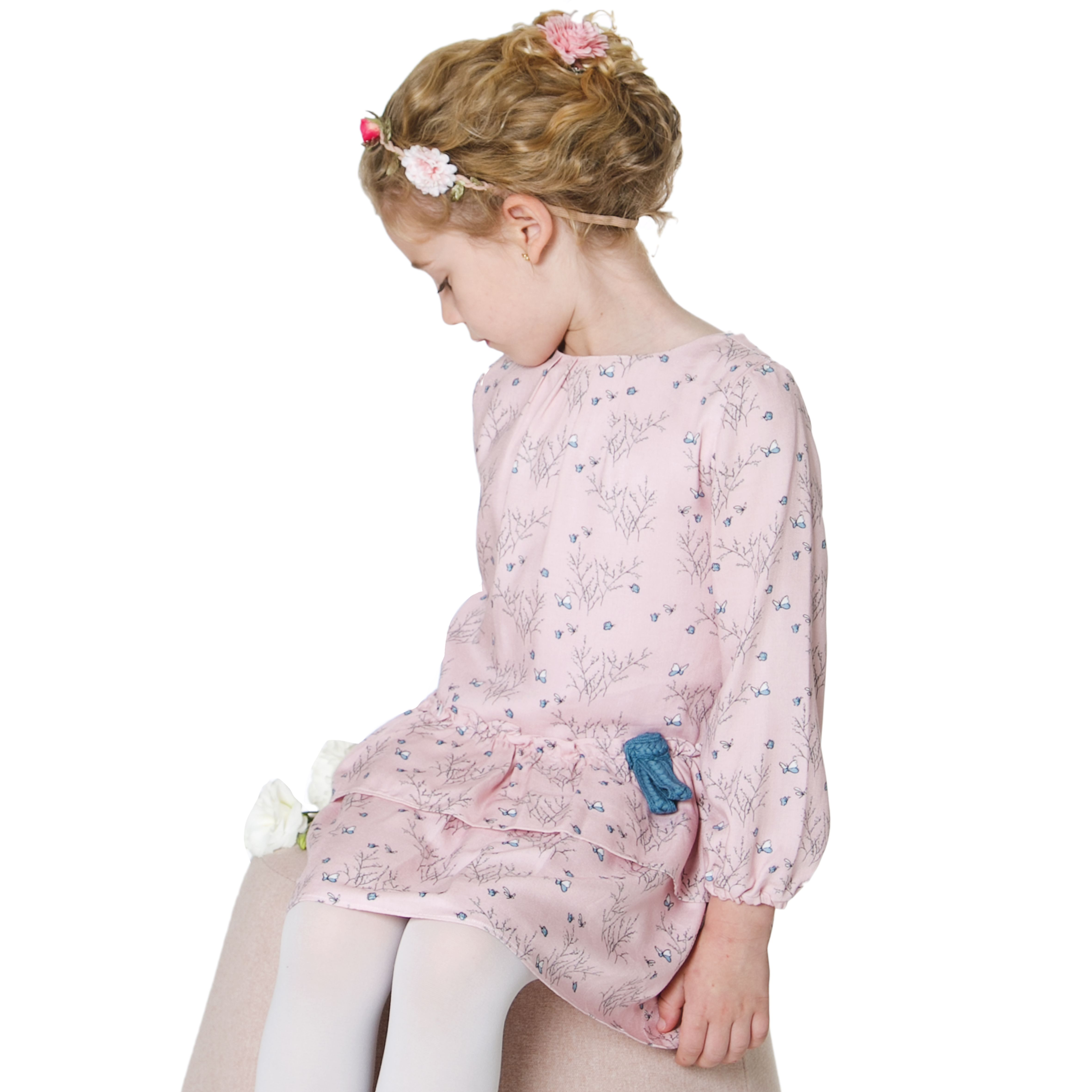 Pink floral dress super soft stylish and practical kids fashion