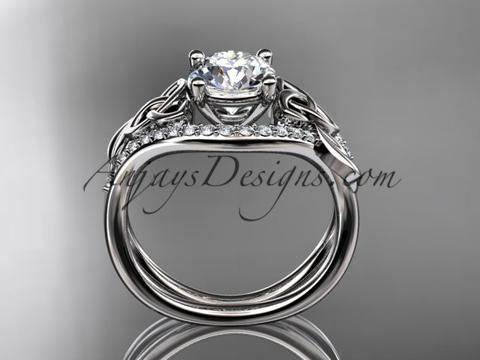 """platinum diamond celtic trinity knot wedding ring, engagement ring with a """"Forever One"""" Moissanite center stone CT7244 - AnjaysDesigns"""