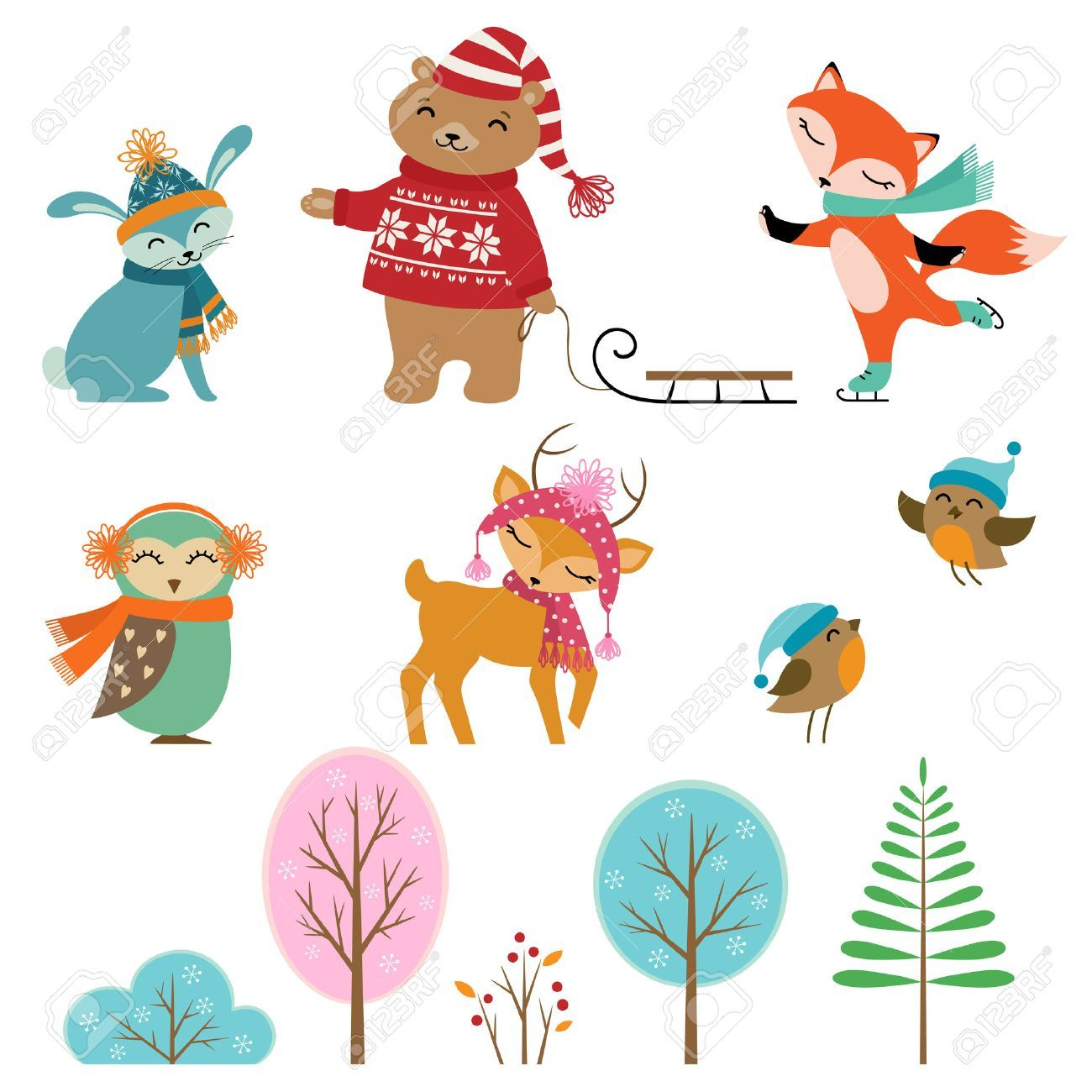 40+ Cute Winter Animals Clipart