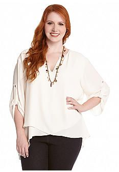 Karen Kane Plus Size Cream Color  Wrap Top #Karen_Kane #Plus #Size #Cream #Wrap #Top #Plus_Size #Fall #Fashion #Belk