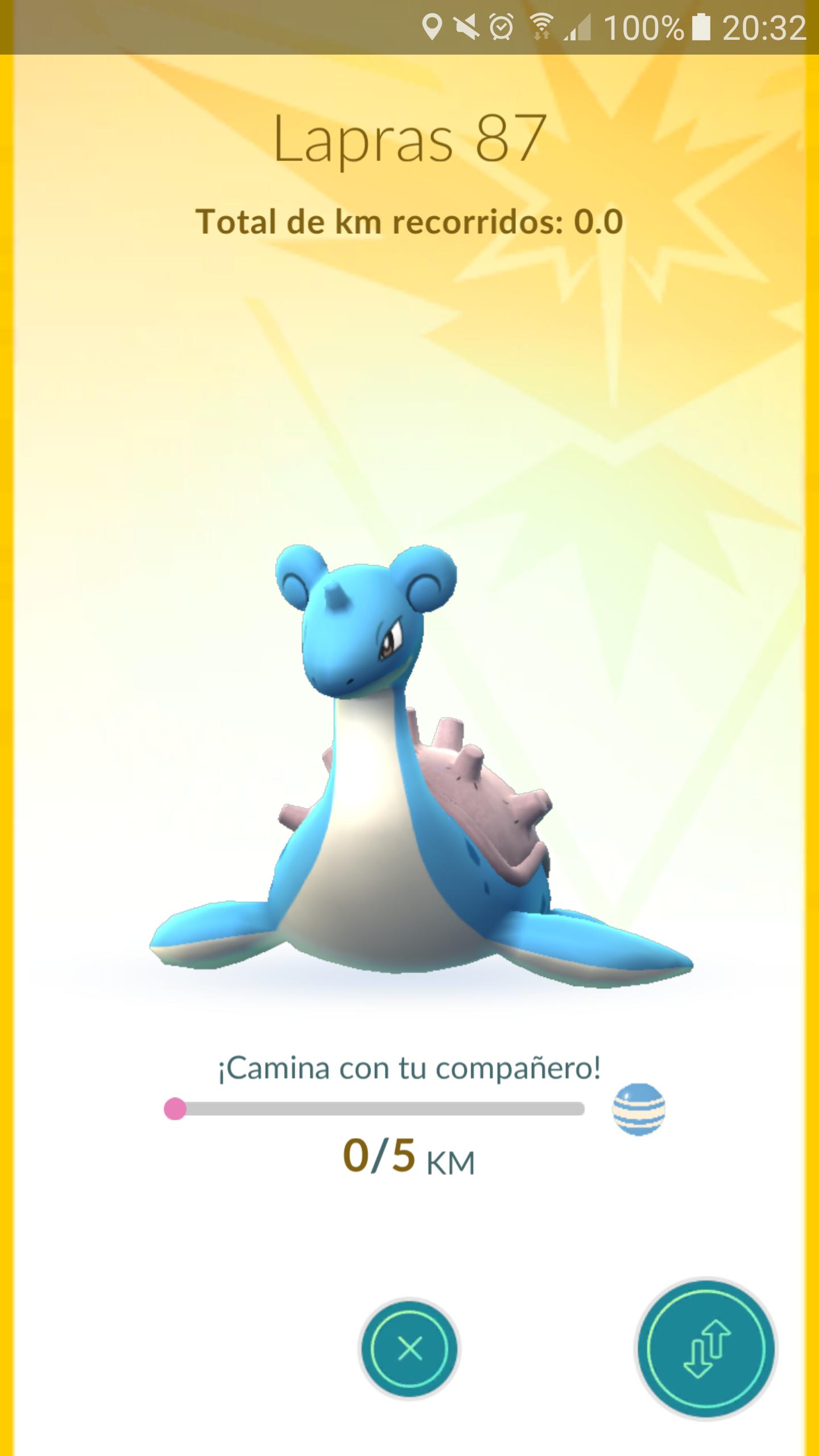So it's 5km per candy for buddy Lapras Pokemon, Buddy
