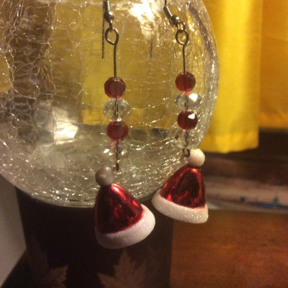 Handmade red Santa hat earrings with red and clear crystal beads* great stocking stuffer* Christmas $3.00