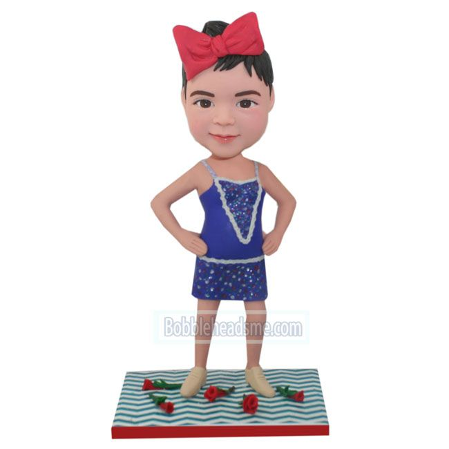 Stand Akimbo Girl In Purple Tutu Custom Bobblehead Doll