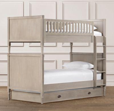 Fine Emelia Twin Over Twin Bunk Bed In Shabby Chic Gray W Storage Download Free Architecture Designs Grimeyleaguecom