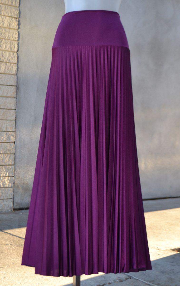 bf10a42e47 Hayaa Clothing - Hayaa Pleated Foldable Waistband Maxi Skirts - PLUM,  $28.99 (http: