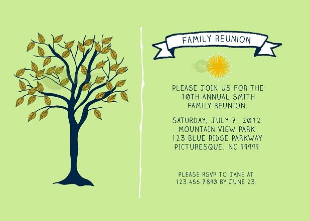 Family Reunion Invitations Templates Family reunion Pinterest
