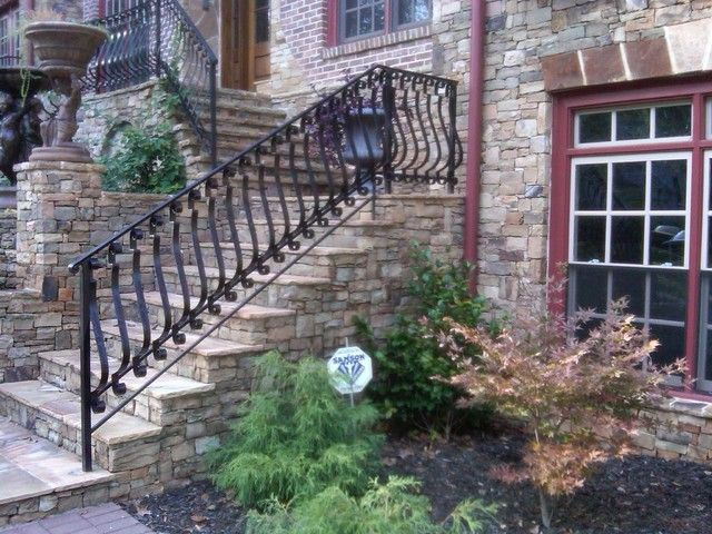 FRONT EXTERIOR STAIRS | ... Exterior With Excellent Rustic Stone Staircase  And Minimalist Small. Wrought Iron HandrailIron ...
