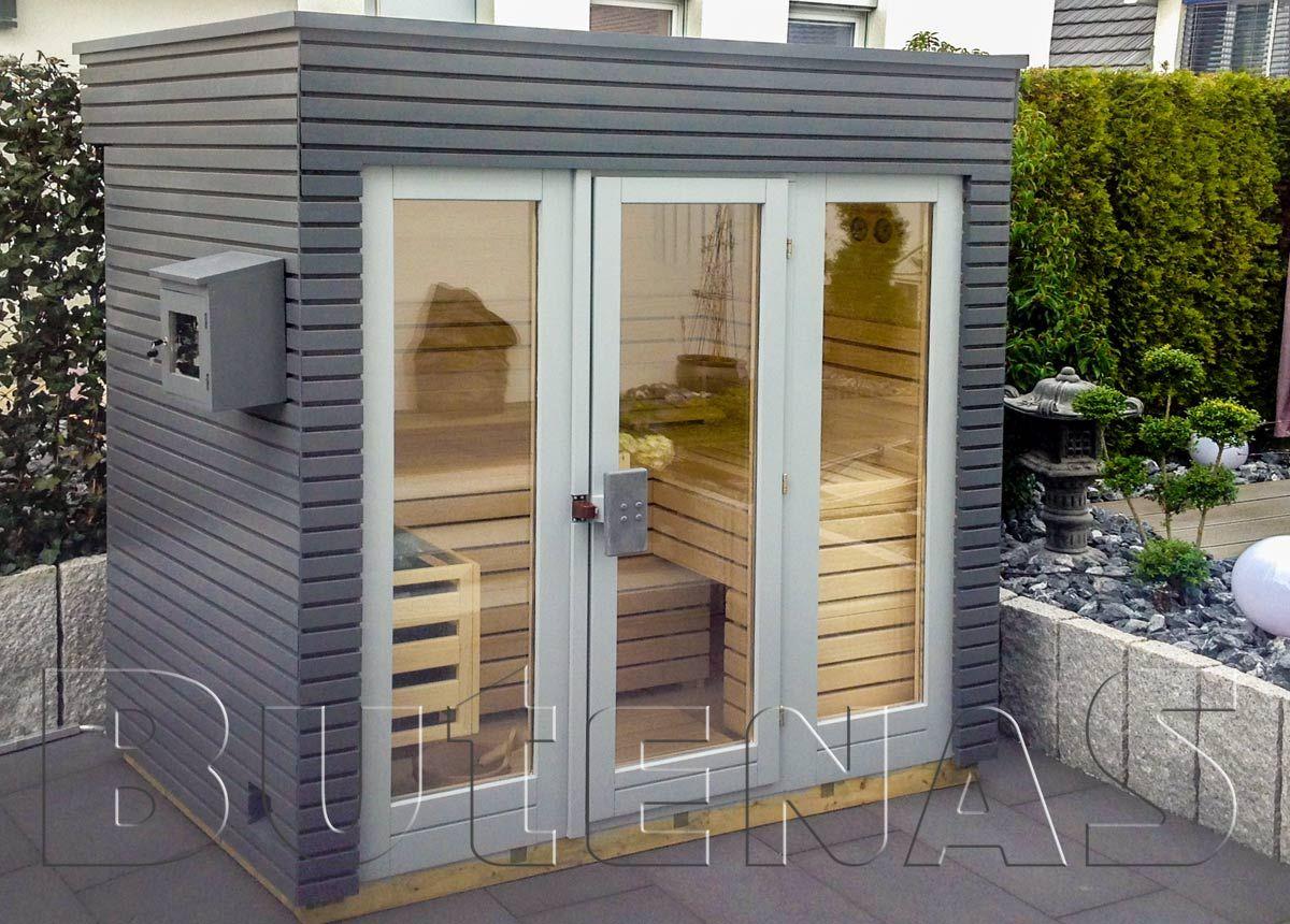 Design Saunahaus SUN ist gebaut aus 91 mm Blockbohlen in stabiler ...
