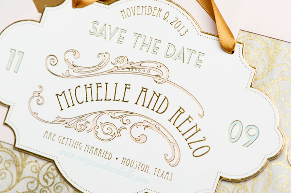 Oh So Beautiful Paper: Michelle + Renzo's Elegant Gold Foil Save the Dates
