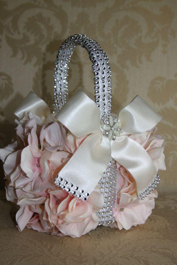 Flower Girl Basket Blush : Blush flower girl basket wedding by