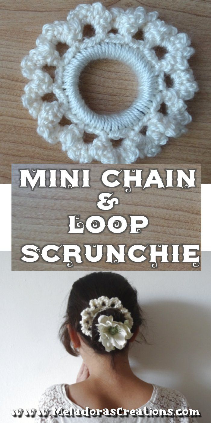 Crochet Scrunchy - Mini Chain Scrunchie - Free Crochet pattern