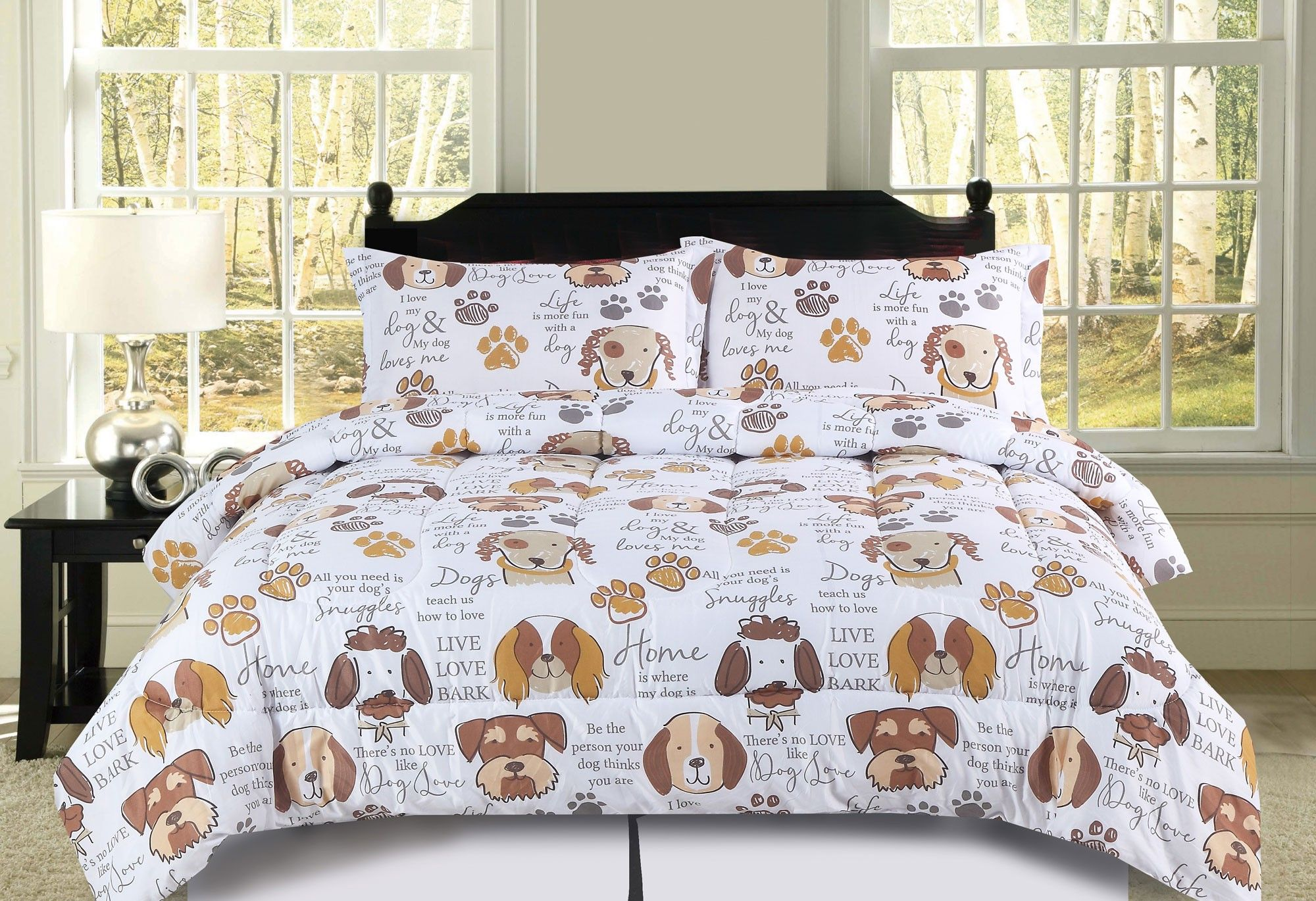 Beatrice Dog Kisses King Dog Puppy Comforter Bedding Set Pet