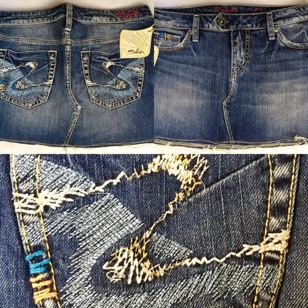 b12a613a SILVER JEANS SALE CHEAP NWT Ravi Jean Thick Stitching Denim Mini Skirt 28 # SilverJeans #Mini