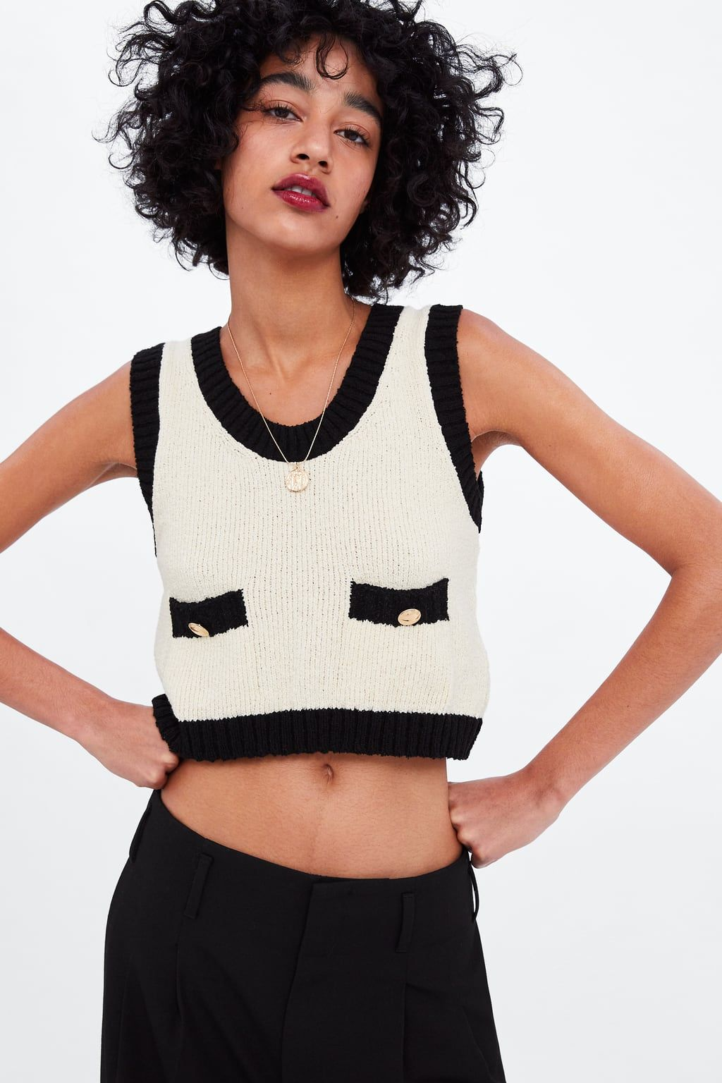 aeb6628a Top with contrasting trims in 2019 | Zara | Tops, Contrast, Women