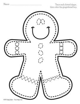 Gingerbread Boy and House - Shape Tracing and Grap