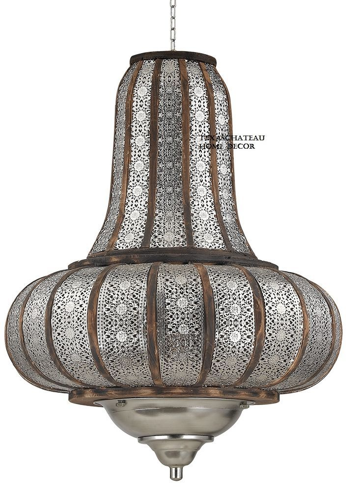 Xl Silver Moroccan Pendant Chandelier Light Fixture Turkish Vintage Style New Doesnotapply Morocc Wood Pendant Chandelier Pendant Chandelier Ceiling Fixtures