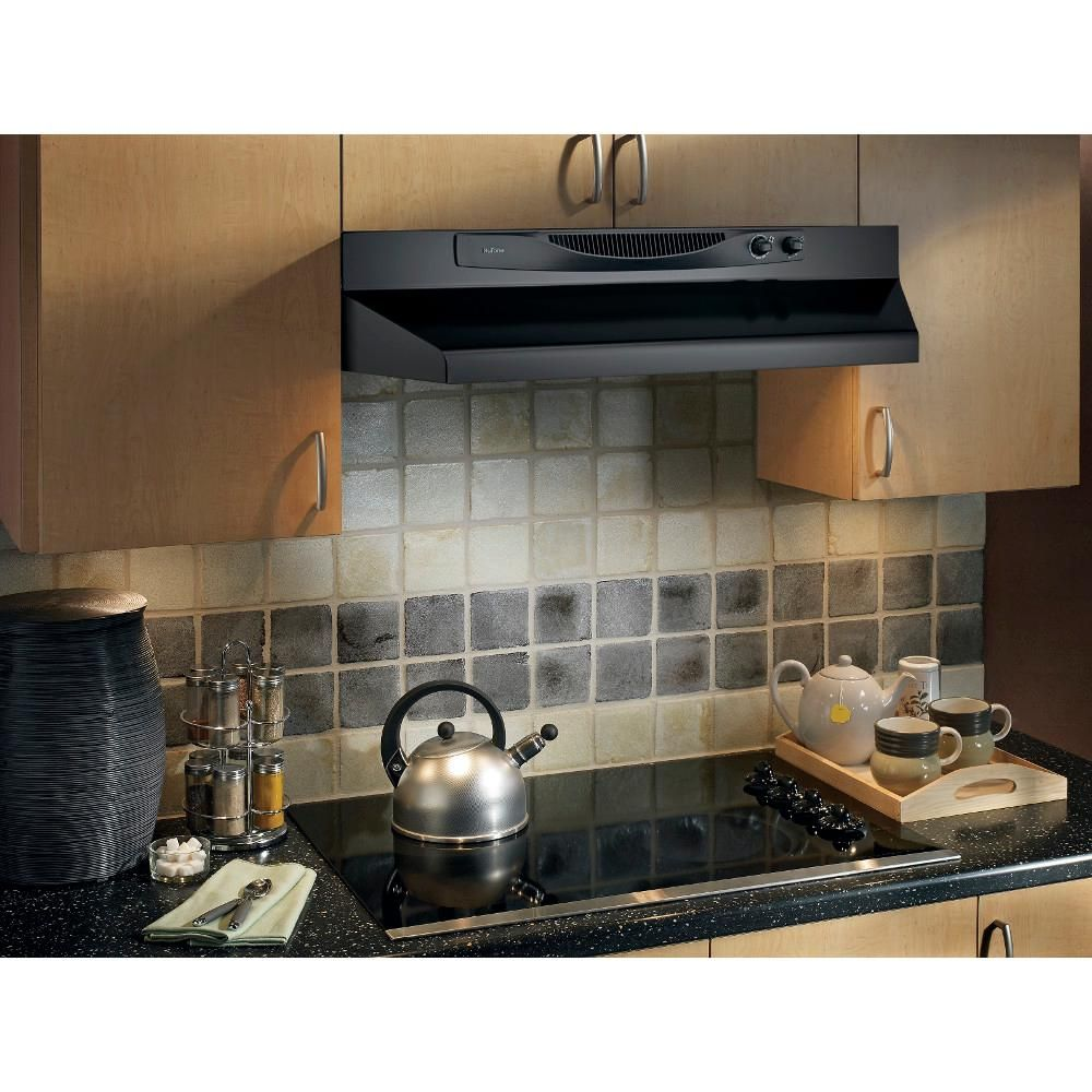 Nutone Acs Series 30 In Convertible Under Cabinet Range Hood With Light In Black Acs30bl The Home Depot In 2020 Range Hood Under Cabinet Range Hoods Kitchen Exhaust