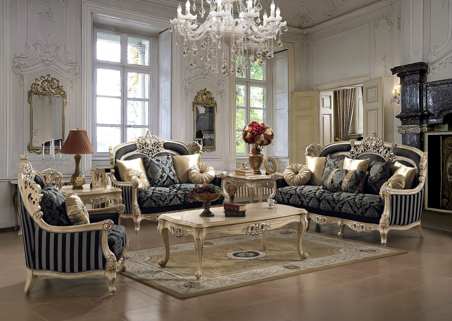 royal style 3 piece living room sofa set with accent pillows