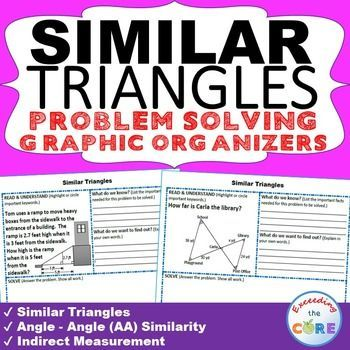 SIMILAR TRIANGLES & INDIRECT MEASUREMENT Word Problems with Graphic ...