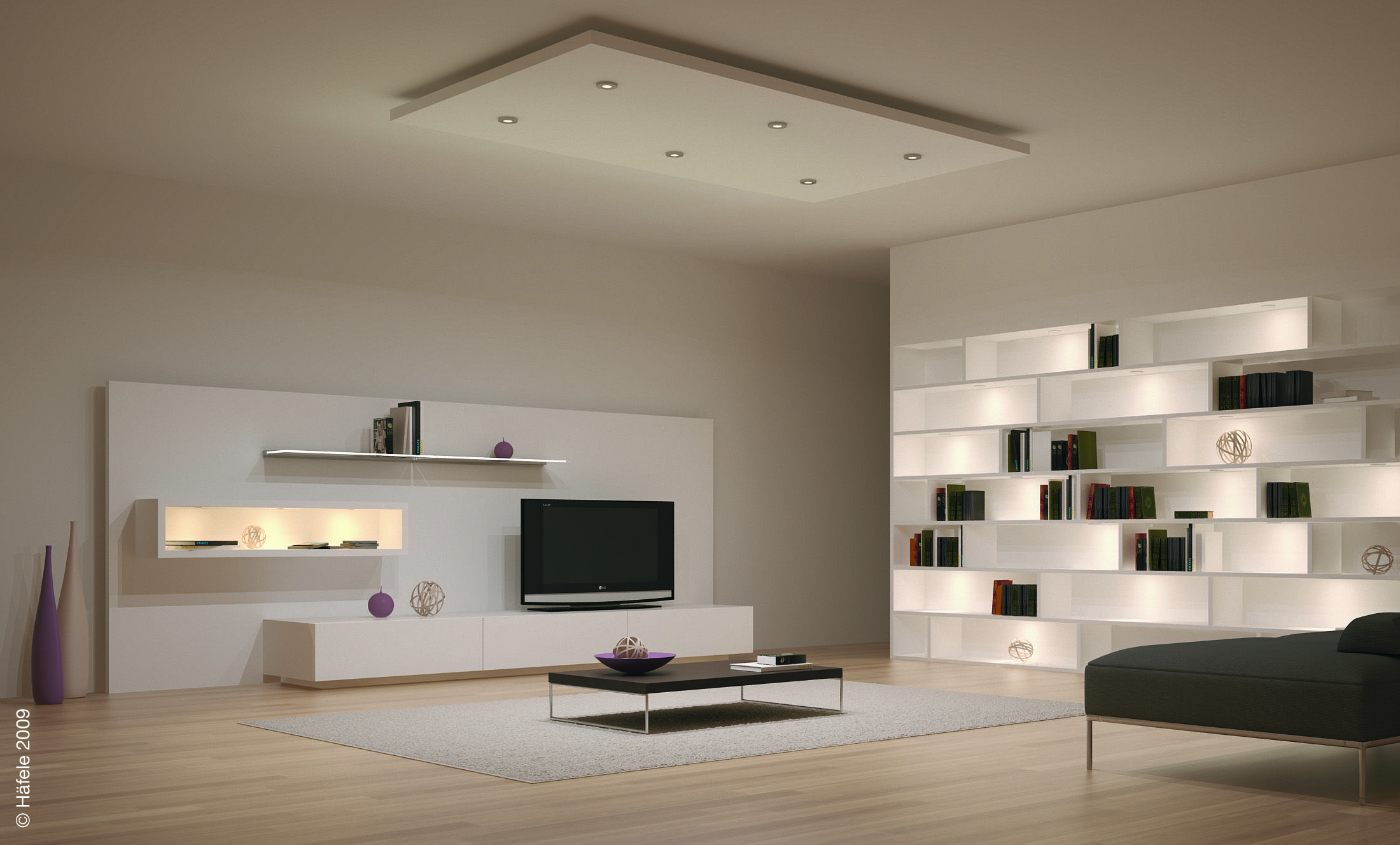 Modern Open Space Living Room Design Lighting System Ideas With Cool LED Ceiling Recessed And Wall Shelves Concealed Lights Creative Eye Catching Home