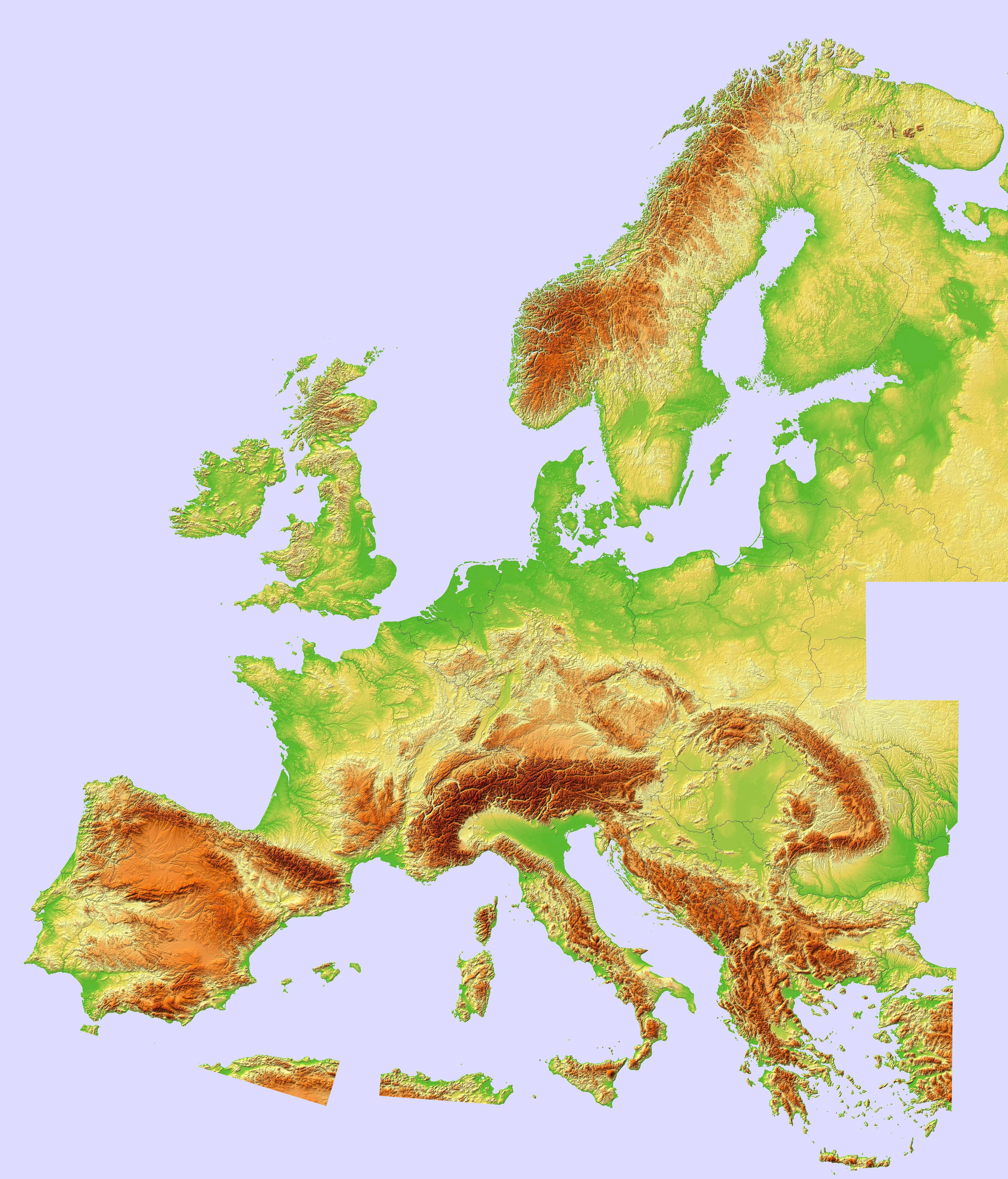 composite topographic hillshade map of europe europe