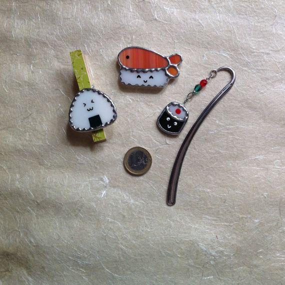 SUSHI+TIME+set+fatto+a+mano+in+vetro+tecnica+Tiffany+di+CloverSbox